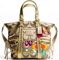 Hot Sale Authentic Coach Daisy Poppy C Applique Pocket Tote Convertible Shoulder Bag