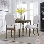 BELLEZE | Modern Upholstered Dining Chair | Parsons | Linen Fabric | Nail head |Set of 2 |Beige