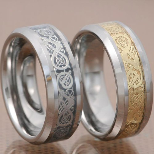 His And Hers Wedding Ring Sets 8Mm Tungsten Ring Gold/Silver Dragon Scroll Inlay Bride & Groom Sets