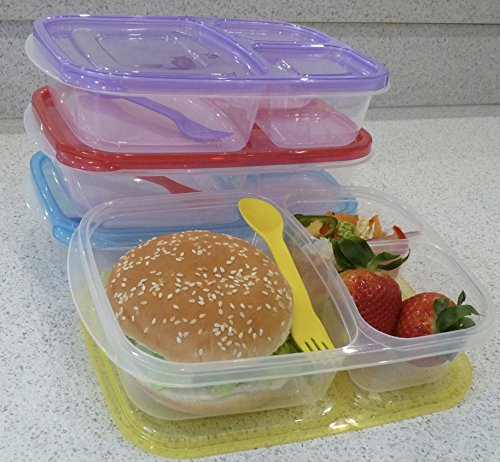health diet 3 compartment plastic bento lunch box with. Black Bedroom Furniture Sets. Home Design Ideas