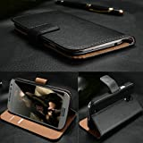 EVO BLACK SAMSUNG GALAXY S3 i9300 LUXURY 100% GENUINE REAL LEATHER FLIP CASE CARD WALLET COVER