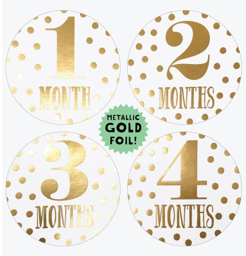 Lucy Darling Shop Baby Month Bodysuit Sticker - Baby Girl - Metallic Gold - Months 1-12 - 1