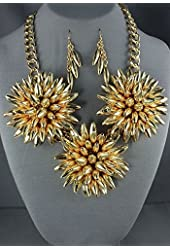 Chunky Floral Fashion Spiky Gold Flower Necklace and Earring Set