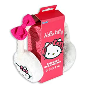 Hello Kitty Cosy Kitty Knitted White Ear Muff Headphones with Removable Cable