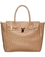 FASH Designer Inspired Ostrich Skin Textured Turn-Lock Décor Office Tote Shoulder Handbag