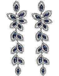 Eternz Silver Plated Drop Earrings For Women (Dark Blue) (EZEA036)
