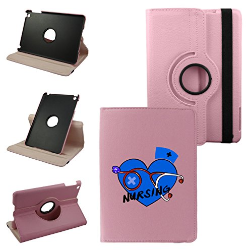 Ipad Mini Nursing Leather Rotating Case 360 Degrees Multi-Angle Vertical And Horizontal Stand With Strap (Pink)