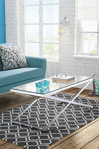 MY-Furniture ANIKKA tavolino da caffè moderno cromato e in vetro