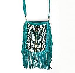 Turquoise Boho Bag | Real Leather | Fringe Purse | Bohemian Bags | Hobo Tote Handbag