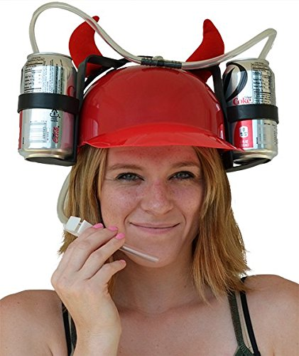 MareLight Beer and Soda Coke Cool Helmet Drinking Cap Drinking Hat with Straws Can Holder Drink Novelty Night Party Game Toy World Cup Gift Fun Party Hat (Red) (Soda Bottle Straw compare prices)