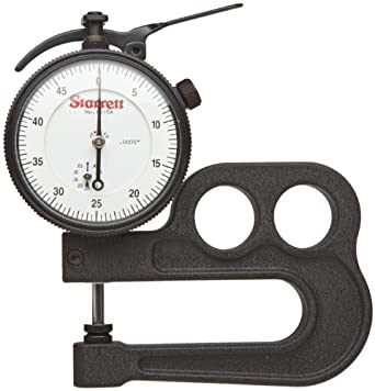 "Starrett 1015A Inch Reading Portable Dial Indicator 1015A-431J Thickness Gauge Without Case, 0.0005"" Graduation, 1/2"" Range, 0-50 Dial Reading"