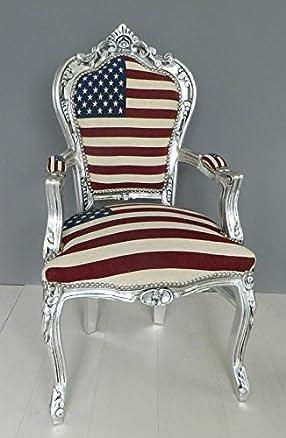 Poltrona Barocco foglia argento Bandiera Americana Usa Vintage