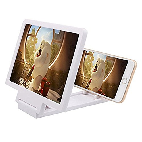 Exclusive Universal Foldable Mobile Screen Magnifier Enlarger Screen Expander For Intex Aqua Power 2/ Power II-WHITE