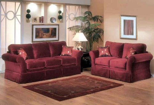 Buy Low Price Benchley 2pc Sofa Loveseat Set with Pleated Skirt Design in Berry Color (VF_BCL-BALARINA-BRY)