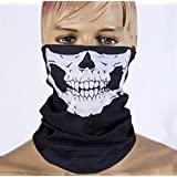 Etech Black Seamless Skull Face Tube Mask Buff Free, Black