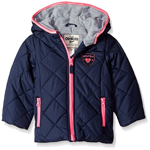 Osh Kosh Little Girls' Puffer With Diamond Quilting, Navy, 5/6