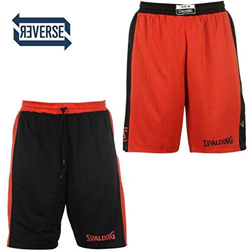 Spalding pantaloncini da uomo reversibile pantaloncini da pantaloni sportivi pantaloni corti da basket rosso X-Small