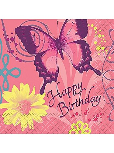 Butterfly Birthday Beverage Napkins (16-pack)