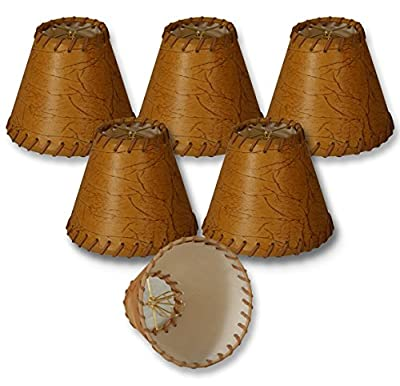 Royal Designs Faux 2-Tone Leather Dark Brown Chandelier Lamp Shade with Lace