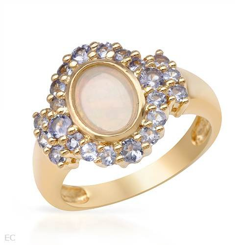 Gold Plated Silver 0.8 CTW Opal and 0.91 CTW Tanzanite Ladies Ring. Ring Size 6. Total Item weight 4.2 g.