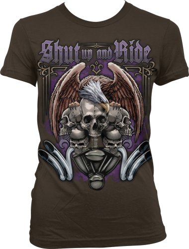 Shut Up And Ride Ladies Junior Fit T-shirt, Motorcycle Biker Eagle Skulls and Engine Design Junior's Tee