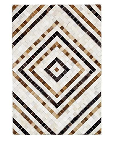 Darya Rugs Natural Cowhide Rug, Multi, 4' x 6'