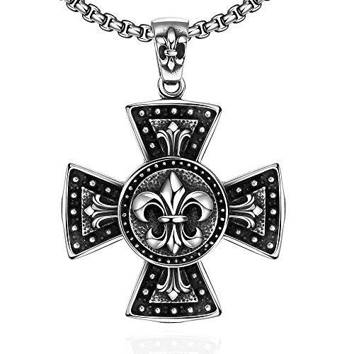 sdlm-para-hombre-classic-roma-negro-y-plateado-warriors-cruz-medalla-encanto-collar-con-colgante