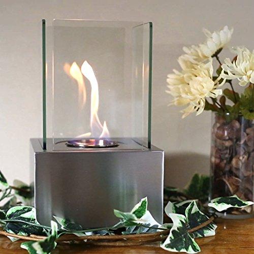 Sunnydaze Stainless Nerve Cubic Ventless Tabletop Bio Ethanol Fireplace