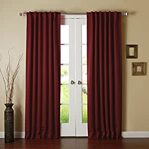 Best Home Fashion Thermal Insulated Blackout Curtains Back Tab Burgundy 52 W