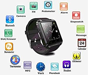 Motorola Fire Xt311 COMPATIBLE Smart Android U8 Bracelet U Watch and Activity Wristband, Wireless Bluetooth Connectivity Pedometer COMPATIBLE WITH XOLO BLACK BY JIYANSHIAndroid/IOS Mobile Phone Wrist Watch Phone with activity trackers and fitness band features by JIYANSHI
