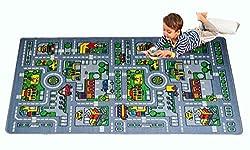 City Map Fun Play Rug 5x8 - Non Slip Bottom