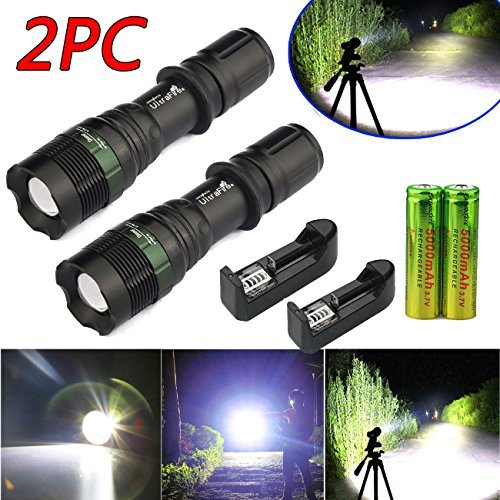 2 x5000LM Rechargeable Zoomable T6 LED Flashlight Torch+18650 Battery&Charger US (Combo Belt Grinder compare prices)