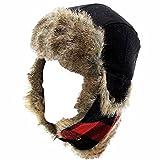 Woolrich Men's Faux Fur Black/Red Plaid Earflaps Trapper Hat