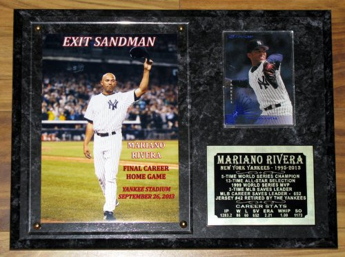 "MARIANO RIVERA ""EXIT SANDMAN"" FINAL GAME YANKEE STADIUM NEW YORK YANKEES PHOTO PLAQUE W/ LASER ENGRAVED CAREER STAT PLATE at Amazon.com"