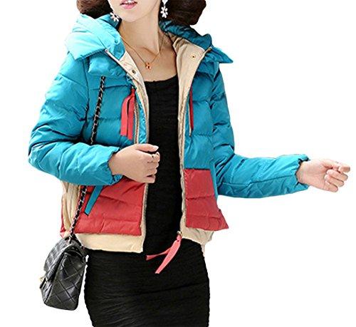 HENGDA Damen Daunenmantel Mantel Winter Daune Kurz Kontrase-Farbe Patchwork Steppjacke Kapuze Blau XL