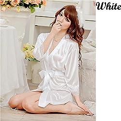 Evana Hot Satin Nightwear Sleepwear Nighty Babydoll (White)