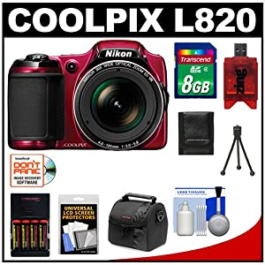 Nikon Coolpix L820 Digital Camera (Red) with 8GB Card + Batteries & Charger + Case + Accessory Kit