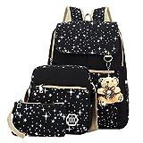 ABage Girls' Canvas Backpack Set 3 Pieces Patterned Bookbag Laptop School Backpack, Black