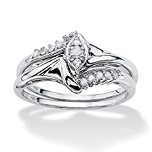 buy White Diamond Platinum Over .925 Silver 2-Piece Bridal Ring Set (.19 Cttw, I Color, I2-I3 Clarity)