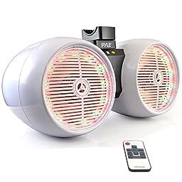 Pyle PLMRWB652LEW Hydra Dual Marine Wakeboard Tower Speakers, Water Resistant, Lights, 400W