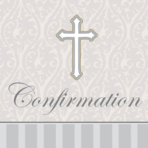 Creative Converting Devotion Cross Confirmation Beverage Napkins, Silver, 16 Count
