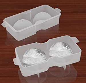 Ice Ball Mold - Silicone Ice Ball Maker - Transparent Ice Ball Tray - Makes 2 Spherical Ice Balls - Great for Scotch, Whiskey, Cocktail and Any Drink - Fill Tray, Press Cap Into Mold & Freeze - Also Customize the Ice Ball - Lifetime Guarantee