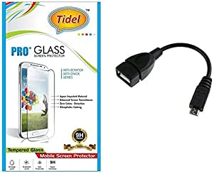Tidel 2.5D Curved Tempered Glass Screen Guard Protector For Micromax Yu Yuphoria With Micro OTG Cable