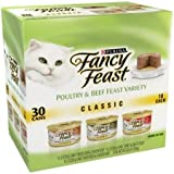 Purina Fancy Feast Pack of 30 Cans 3 oz Wet Cat Food, Classic Poultry/Tender Beef Feast Variety Pack, Finely Ground & Delightfully Smooth, Like Pate, Tender Liver, Chicken, Turkey Giblets/Tender Beef