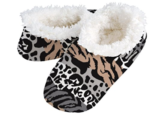 Snoozies Womens Animal Prints Fur Plush Fleece Lined Footcoverings Animal Stripes Large