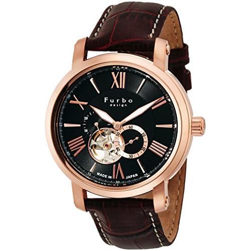 [フルボデザイン]Furbo design 腕時計 自動巻き F5026 日本製 ブラック ピンクゴールド 茶革 F5026PBKBR メンズ
