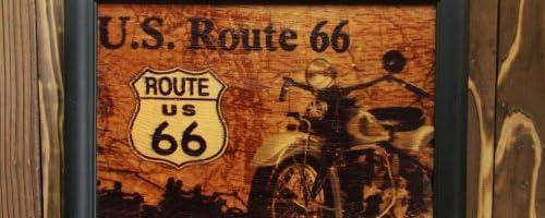 ノスタルジック木製看板 ルート66 U.S. Route 66