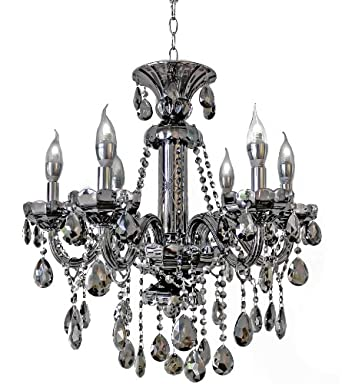 Smoked Silver Crystal Glass Chandelier Pendant Lighting Fixture