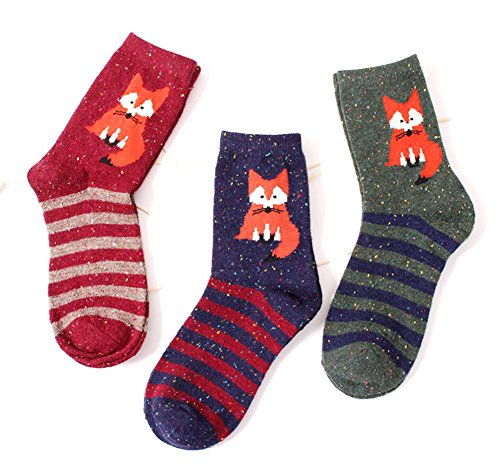 ebmore-womens-animal-pattern-warm-socks-for-winter-fox-stripefree-size