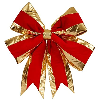 24 x 30 Red & Gold Velveteen 4 Loop Bow
